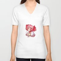 madoka V-neck T-shirts featuring Madoka Kaname by lythy