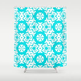 Woodblock Floral Trellis, Georgian Style 1800s - Turquoise and White Shower Curtain