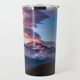 Fire on the Mountain - Sunrise Illuminates Cloud Over Longs Peak in Colorado Travel Mug