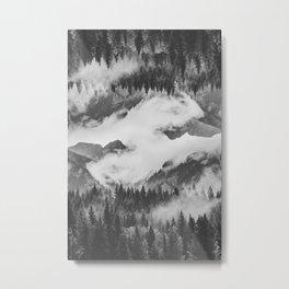 Misty Mountain II B&W Metal Print
