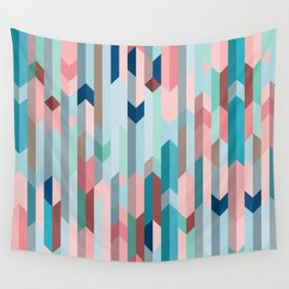 Blue & Pink Chevron Pattern Wall Tapestry