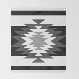 Aztec - black and white Throw Blanket