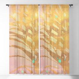 Sultry Summer Sun Golden Palms Sheer Curtain