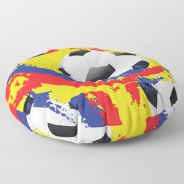 Football Ball and red, blue and yellow Strokes Floor Pillow