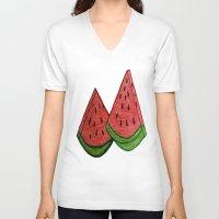 watermelon V-neck T-shirts featuring watermelon by Shahadjef