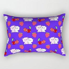 Cute happy cuddling funny Kawaii pink baby kittens, red summer strawberries and sweet cherries light purple blue pattern design. Nursery decor ideas. Rectangular Pillow