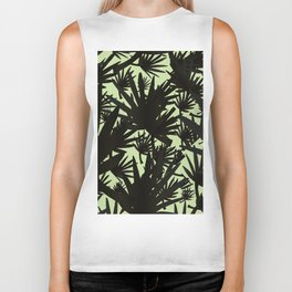 Modern black green abstract tropical leaves Biker Tank
