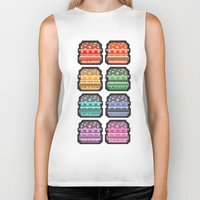 8bit Biker Tanks featuring 8bit burger by thev clothing