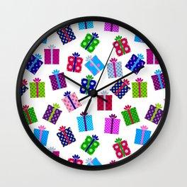 Polka Dot Present Pattern Wall Clock