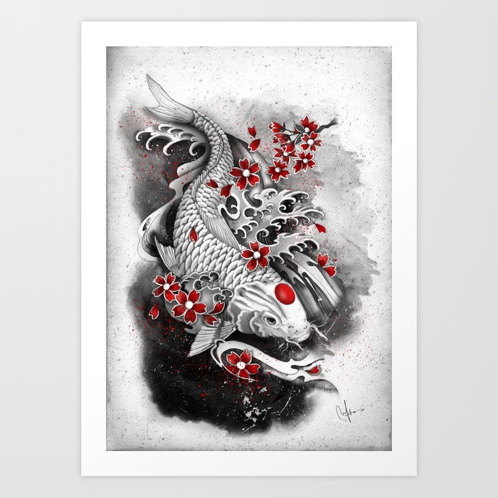 White Koi and sakuras Art Print