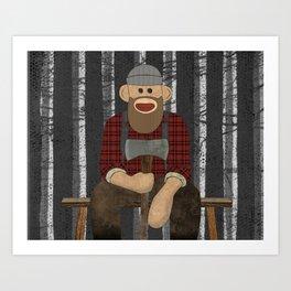 Sockmonkey Lumberjack Art Print