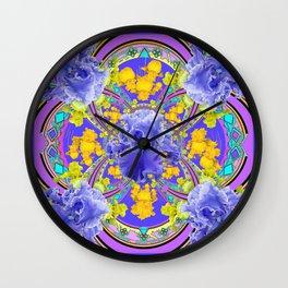 Frilly Lavender Blue Iris Garden Abstract Wall Clock