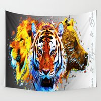 tigers Wall Tapestries featuring lions & tigers & bears by Vector Art