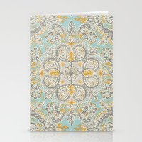 bedding Stationery Cards featuring Gypsy Floral in Soft Neutrals, Grey & Yellow on Sage by micklyn
