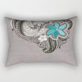 Teal Hawaiian Floral Tattoo Design Rectangular Pillow