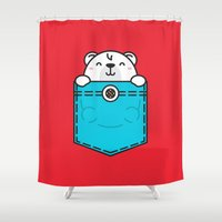 pocket fuel Shower Curtains featuring Pocket Polar by Steven Toang