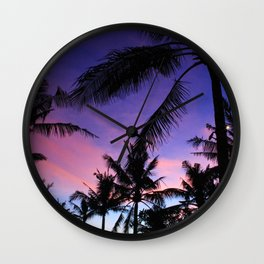 The Perfect Palm Sunset in Bali Wall Clock