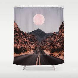Road Red Moon Shower Curtain