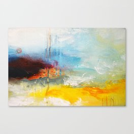 Abstract Blue Gold Digital Art from Original Painting Canvas Print