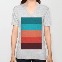 Exotic bright colorful Bohemian Chic teal burgundy Turquoise Orange Stripes Unisex V-Neck