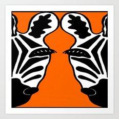 Two Face Zebra Art Print