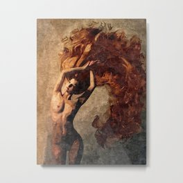 Flames of passion - sexy nude redhead girl Metal Print