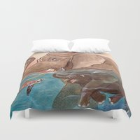 elephants Duvet Covers featuring Elephants by Paloma  Galzi