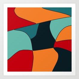 shapes orange  geometric Art Print