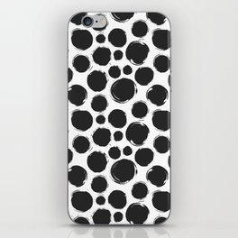 Dry brush black ink dots iPhone Skin