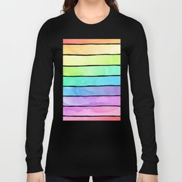 Watercolor Rainbow Stripes in Ombre Summer Pastels Long Sleeve T-shirt