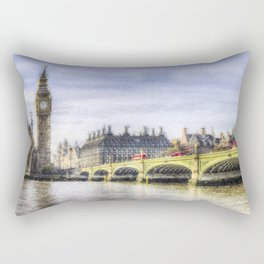 Westminster Bridge and Big Ben Art Rectangular Pillow