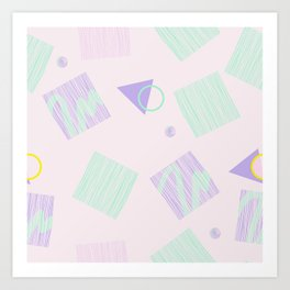 Geometric objects in pastels Art Print