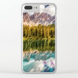 Carezza Lake Mountain Reflection and Wildflowers Landscape Painting by Jeanpaul Ferro Clear iPhone Case