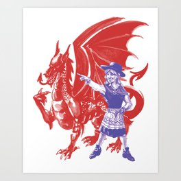 Dame Wales and Red Dragon Art Print