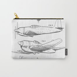 Wedberg Airplane Patent - Us Air Force Art - Black And White Carry-All Pouch