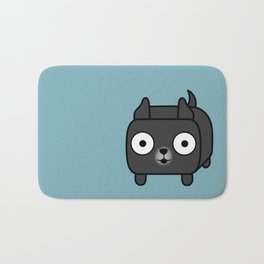 Pitbull Loaf - Black Pit Bull with Cropped Ears Bath Mat