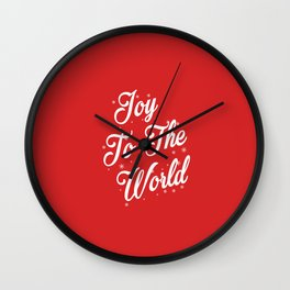 Joy To The World Christmas Red Background Wall Clock