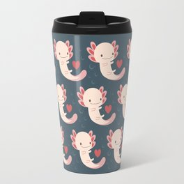 Axolotls, hearts and bubbles Travel Mug