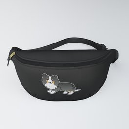 Tricolor Shetland Sheepdog Dog Cartoon Illustration Fanny Pack