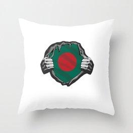 Bay Of Bengal Dhaka Country South Asia Patriotism Gift Bangladesh Chest Flag Throw Pillow