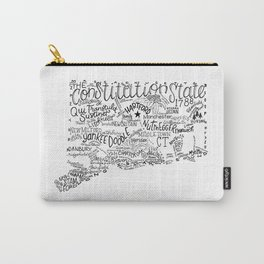 Connecticut - Hand Lettered Map Carry-All Pouch