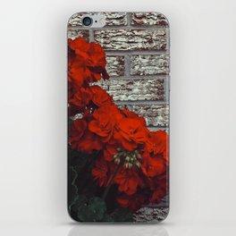 Red bricks red flowers iPhone Skin