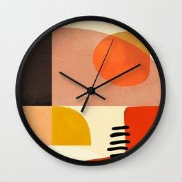 mid century shapes moon Wall Clock
