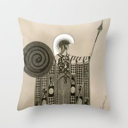 """Art Deco Sepia Illustration """"Athena"""" Throw Pillow"""