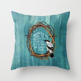 shrike with thorns Throw Pillow
