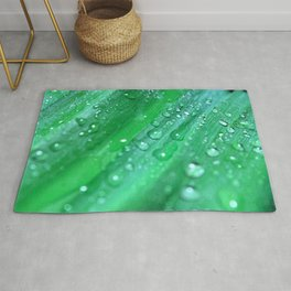 Green Leaves and Raindrops Photography Rug