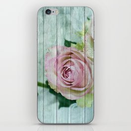 Vintage Shabby Chic Pink Roses On Wood iPhone Skin