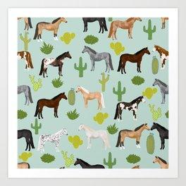 Horses Cactus - horse, cactus, western, texas, cowgirl, girl, cactus fabric, blanket, horse Art Print