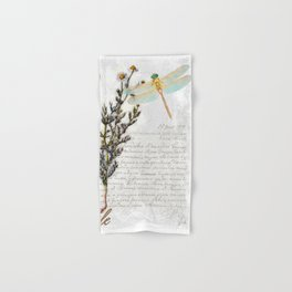 Chamomile Herb, Dragonfly Bumble Bee Botanical painting, Cottage style Hand & Bath Towel