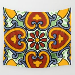 Talavera Mexican tile inspired bold design in green, gold, red and blue Wall Tapestry